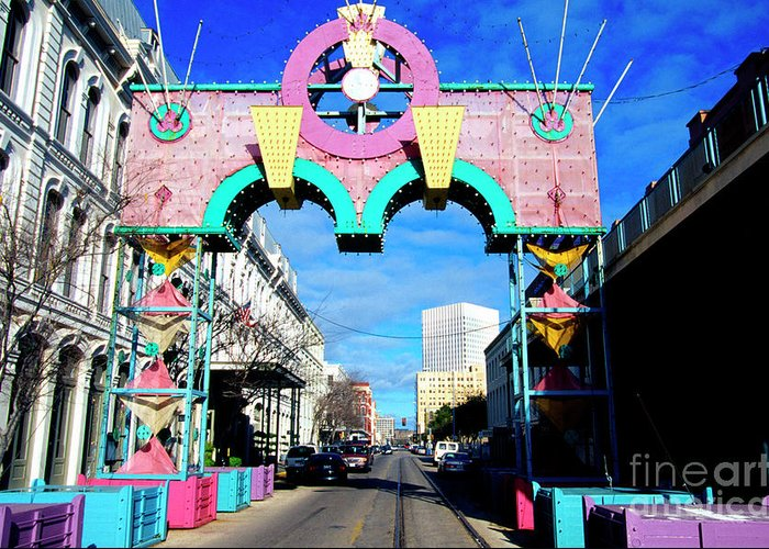 Galveston Texas Decked Out For Mardi Gras Greeting Card featuring the photograph Mardi Gras In Galveston by Thomas R Fletcher