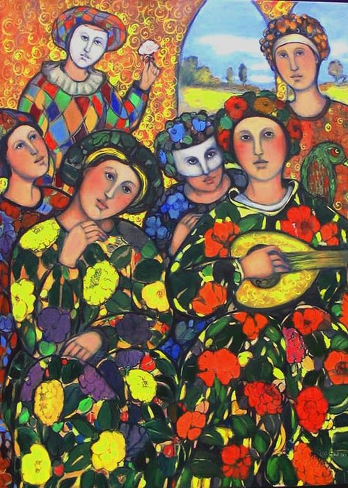 Greeting Card featuring the painting Mardis Gras by Marilene Sawaf