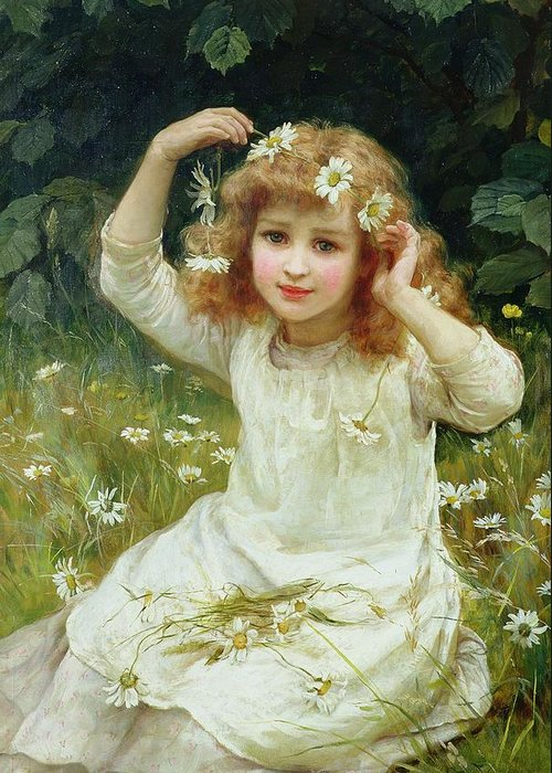 Marguerites Greeting Card featuring the painting Marguerites by Frederick Morgan