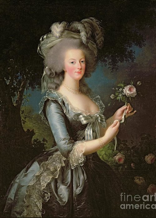 Marie Greeting Card featuring the painting Marie Antoinette by Elisabeth Louise Vigee Lebrun