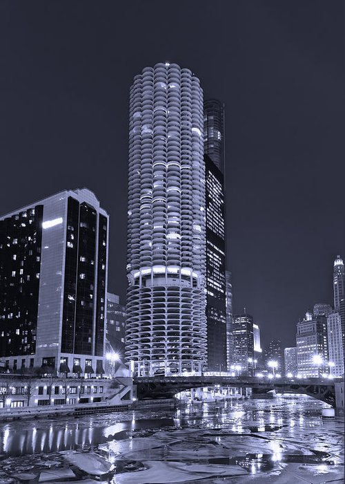 Marina City Greeting Card featuring the photograph Marina City On The Chicago River In B And W by Steve Gadomski