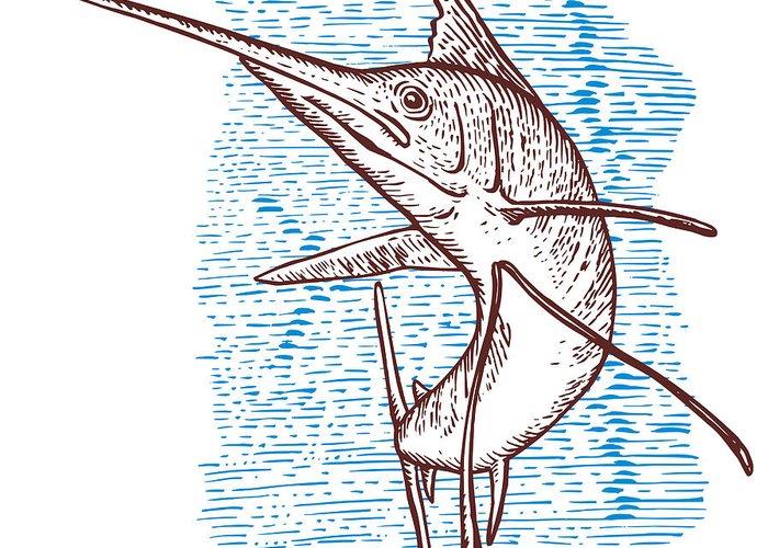 Blue Marlin Greeting Card featuring the digital art Marlin Woodcut by Aloysius Patrimonio