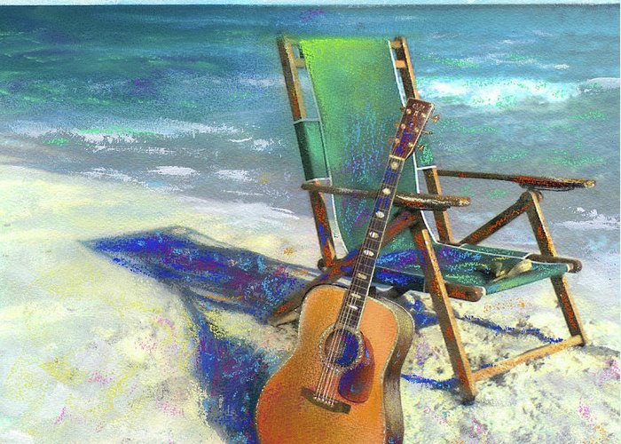 Guitar Greeting Card featuring the painting Martin Goes To The Beach by Andrew King