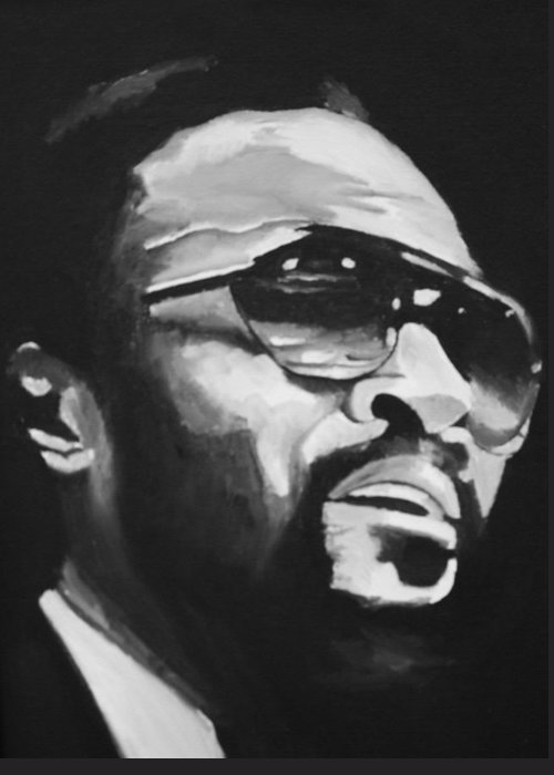 Marvin Gaye Portraits Greeting Card featuring the painting Marvin Gaye II by Mikayla Ziegler