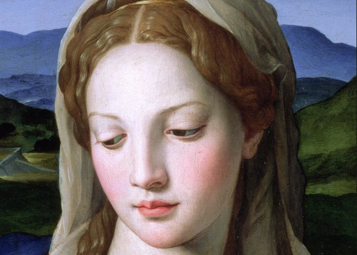 Holy Greeting Card featuring the painting Mary by Agnolo Bronzino