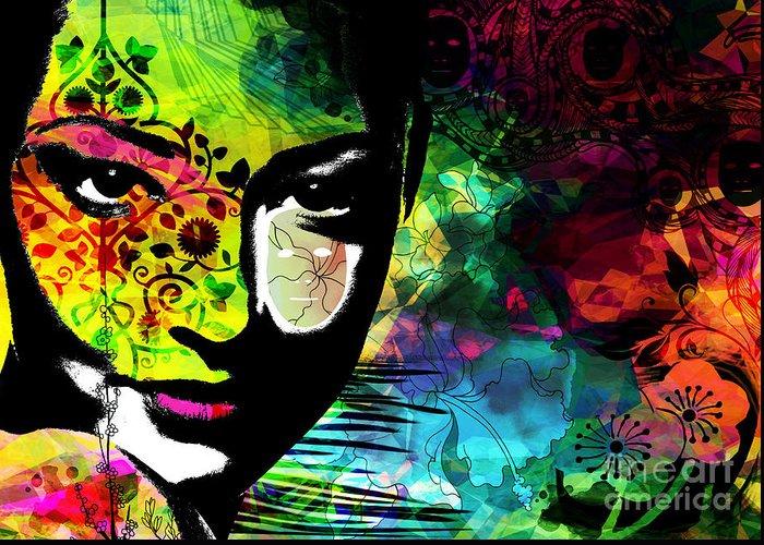 Emotions Mask Ego Greeting Card featuring the digital art Masking Ego by Ramneek Narang