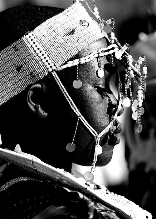 Black And White Greeting Card featuring the photograph Massai Bride by Miranda Miranda