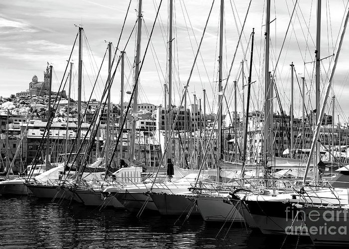 Masts In The Harbor Greeting Card featuring the photograph Masts In The Harbor by John Rizzuto