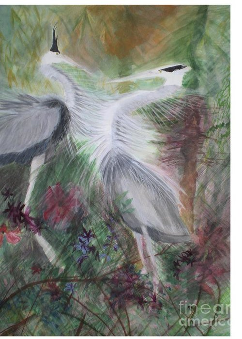 Birds Greeting Card featuring the painting Match To Mate by Hal Newhouser