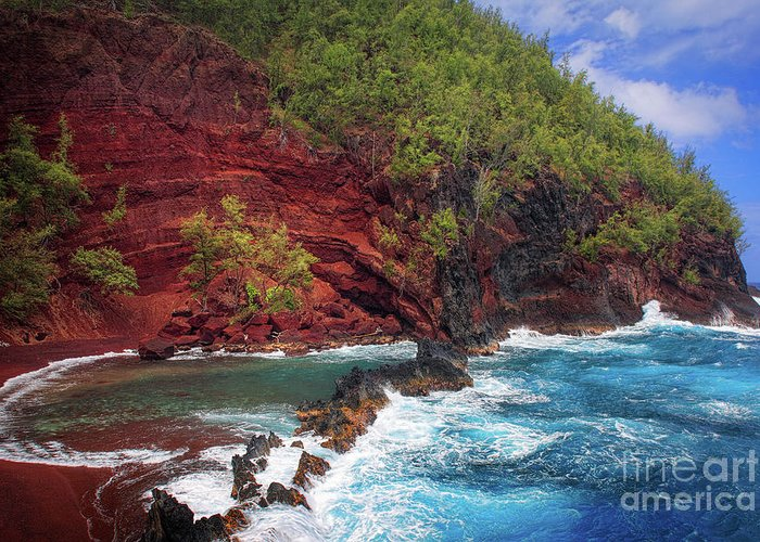 America Greeting Card featuring the photograph Maui Red Sand Beach by Inge Johnsson