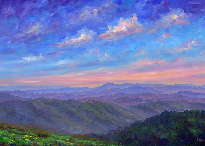 Max Patch Greeting Card featuring the painting Max Patch North Carolina by Jeff Pittman