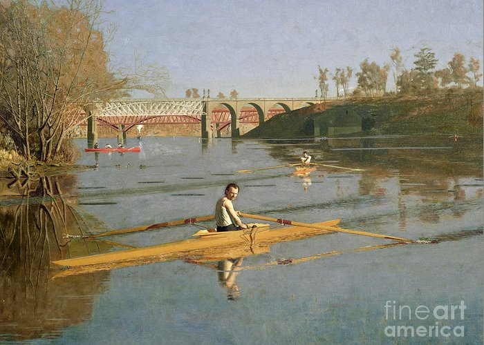 Max Greeting Card featuring the painting Max Schmitt In A Single Scull by Thomas Cowperthwait Eakins