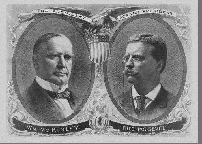 Teddy Roosevelt Greeting Card featuring the mixed media Mckinley And Roosevelt Election Poster by War Is Hell Store