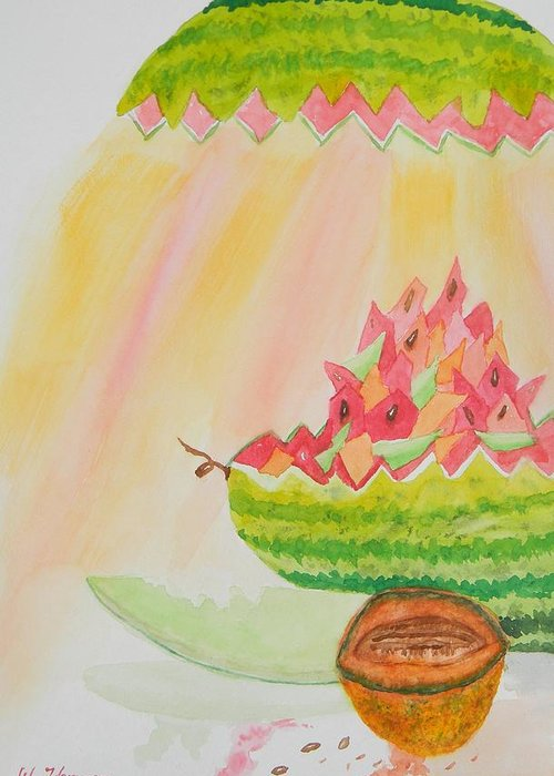 Melon Head Bar And Grill Greeting Card featuring the painting Melon Head Bar And Grill by Warren Thompson