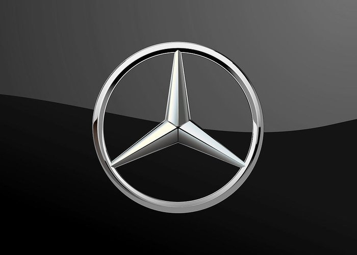 Mercedes benz 3d badge on black greeting card for sale for Mercedes benz card
