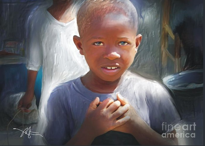 Boy Greeting Card featuring the painting Merci Thank You by Bob Salo