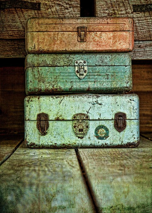 Box Greeting Card featuring the photograph Metal Boxes by Tom Mc Nemar