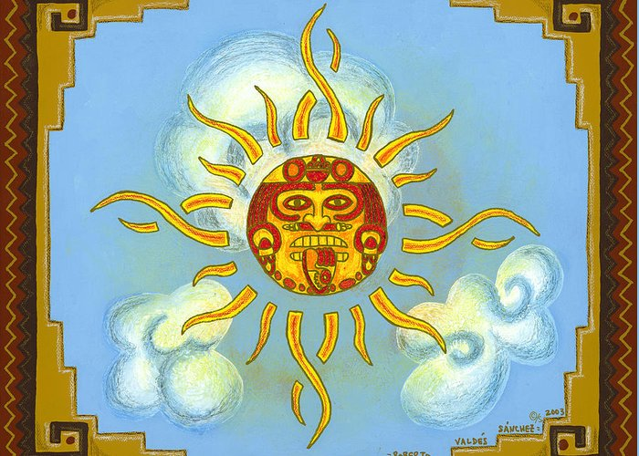 Mexico Greeting Card featuring the painting Mi Sol by Roberto Valdes Sanchez