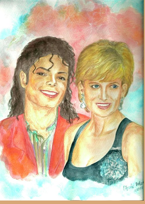 Michael Jackson Greeting Card featuring the painting Michael Jackson And Princess Diana by Nicole Wang