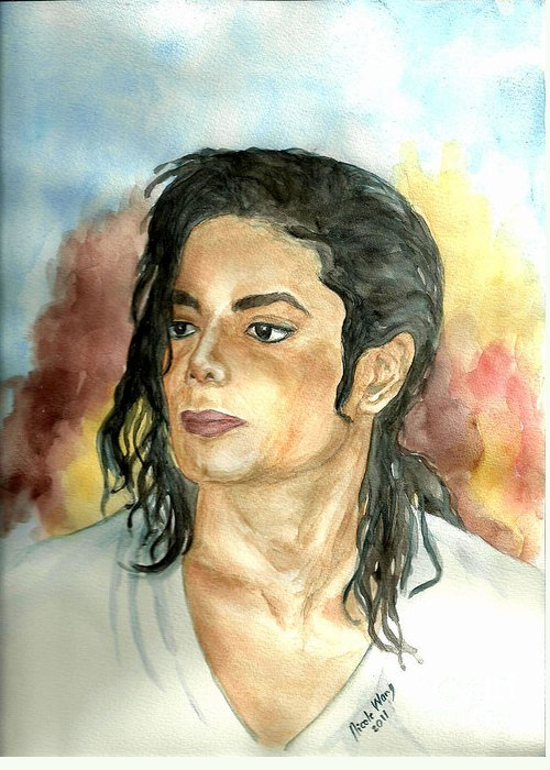 Michael Jackson Greeting Card featuring the painting Michael Jackson Black Or White by Nicole Wang