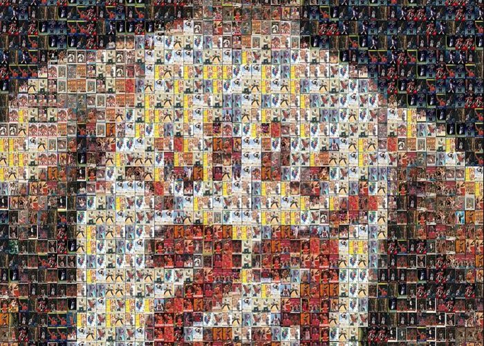 Michael Jordan Greeting Card featuring the mixed media Michael Jordan Card Mosaic 2 by Paul Van Scott