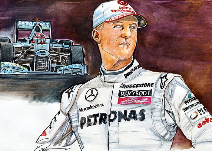 Michael Schumacher Greeting Card featuring the drawing Michael Schumacher by Dave Olsen