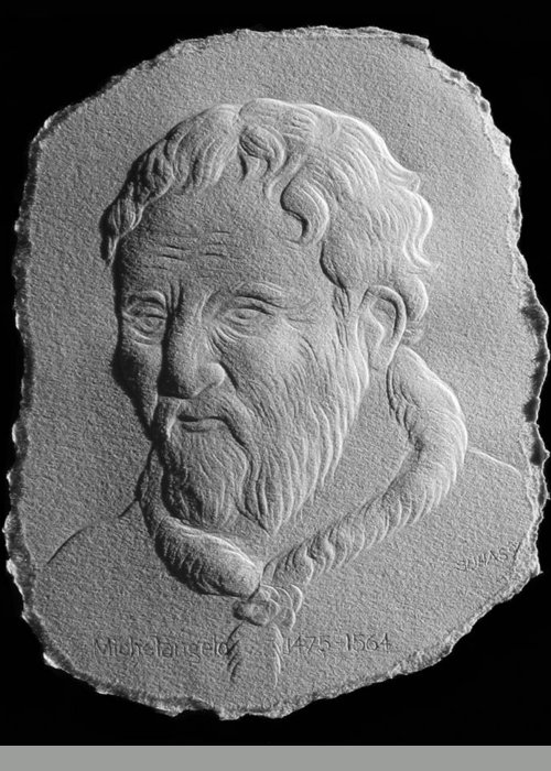 Portrait Greeting Card featuring the relief Michelangelo by Suhas Tavkar