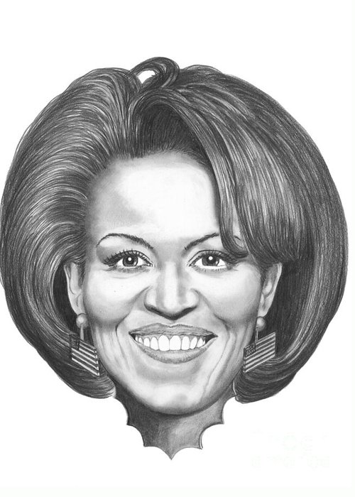 Drawing Greeting Card featuring the drawing Michelle Obama by Murphy Elliott