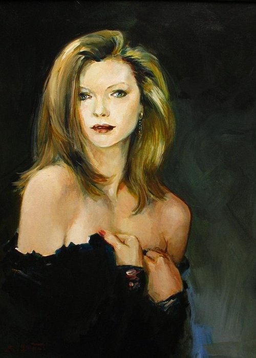 Michelle Greeting Card featuring the painting Michelle Pfeiffer by Tigran Ghulyan