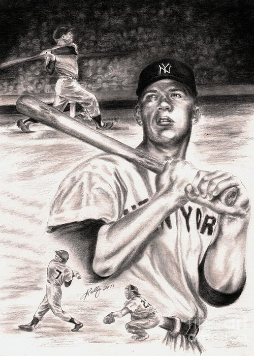 Mickey Mantle Portrait Greeting Card featuring the drawing Mickey Mantle by Kathleen Kelly Thompson