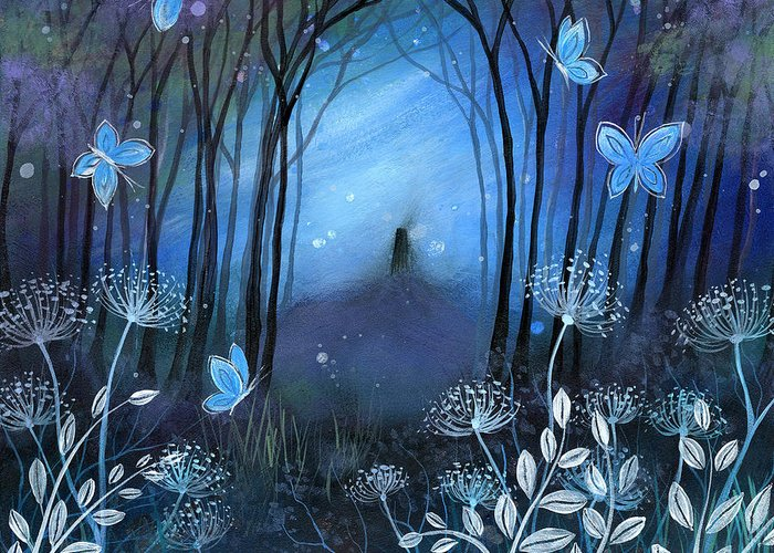 Landscape Greeting Card featuring the painting Midnight by Amanda Clark