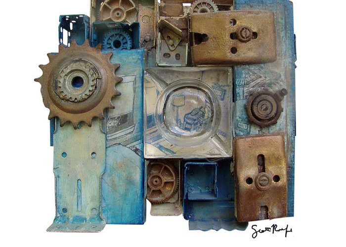 Midnight Greeting Card featuring the mixed media Midnight Mechanism by Scott Rolfe
