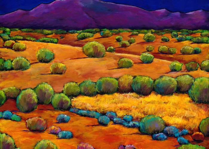 New Mexico Greeting Card featuring the painting Midnight Sagebrush by Johnathan Harris