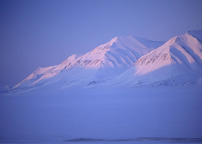 Spitsbergen Greeting Card featuring the photograph Midnight Sunset On Polar Mountains by Gordon Wiltsie
