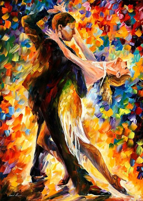Afremov Greeting Card featuring the painting Midnight Tango by Leonid Afremov
