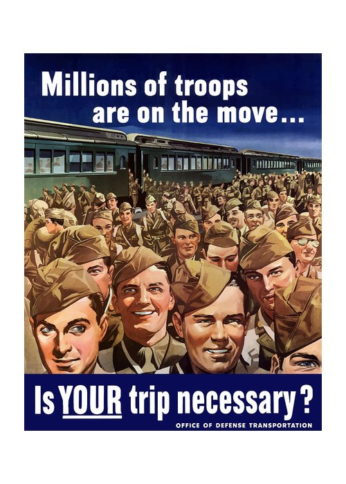 Trains Greeting Card featuring the painting Millions Of Troops Are On The Move by War Is Hell Store