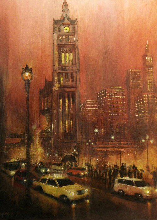 City At Night Greeting Card featuring the painting Milwaukee City Hall by Tom Shropshire