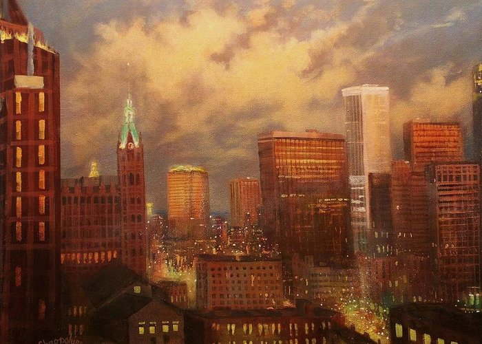 City Lights Greeting Card featuring the painting Milwaukee My Hometown by Tom Shropshire