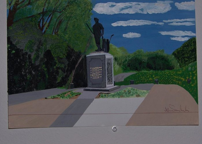 Minuteman Memorial Greeting Card featuring the painting Minuteman Memorial by William Demboski