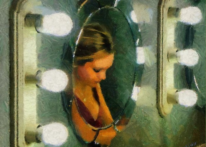 Bridesmaid Greeting Card featuring the painting Mirror Mirror On The Wall by Jeff Kolker