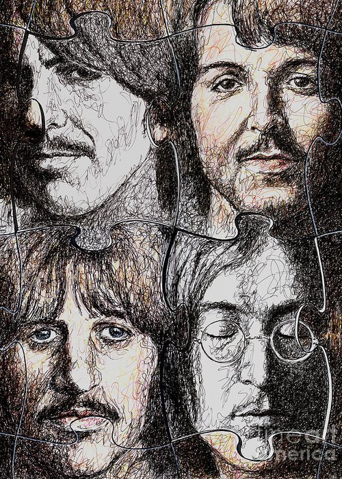 Beatles Greeting Card featuring the drawing Missing Pieces by Maria Arango