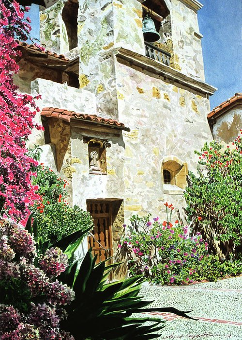 Watercolor Greeting Card featuring the painting Mission Carmel Bell Tower by David Lloyd Glover