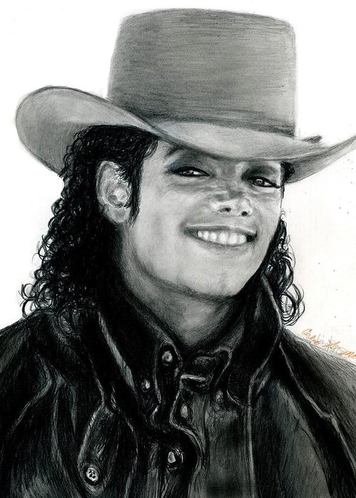 Michael Jackson Greeting Card featuring the drawing Mj Ranch Style by Carliss Mora