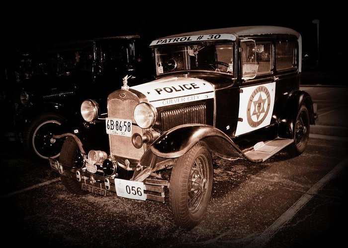 Car Greeting Card featuring the photograph Model A Culver City Police Bw by David Dunham