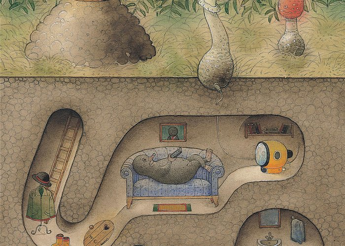 Underground Mole Cellar Tv Agaric Home Relaxation Greeting Card featuring the painting Mole by Kestutis Kasparavicius