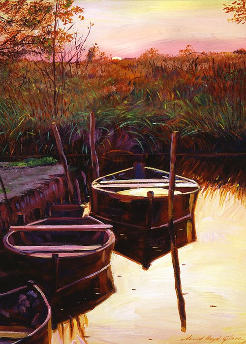 Lakes Greeting Card featuring the painting Moment At Sunrise by David Lloyd Glover