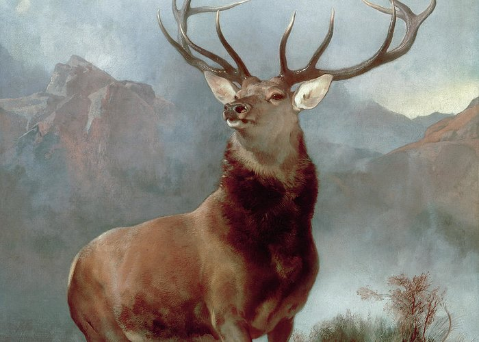 Monarch Greeting Card featuring the painting Monarch Of The Glen by Sir Edwin Landseer