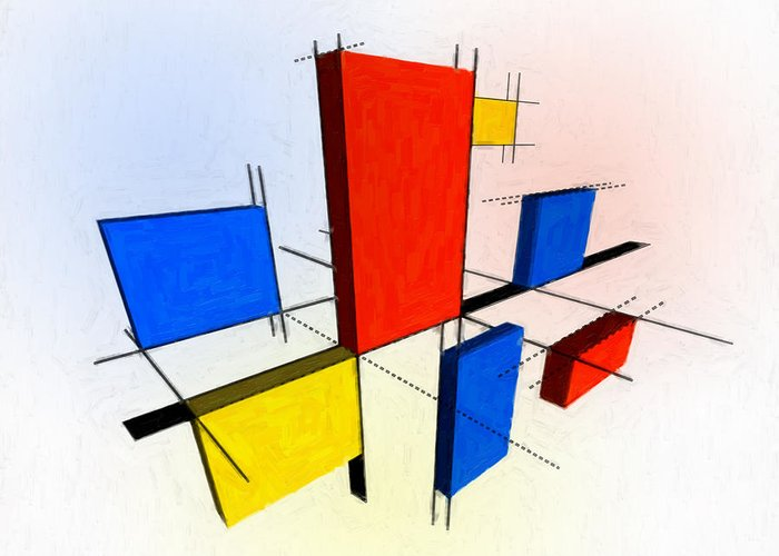 Mondrian Greeting Card featuring the painting Mondrian 3d by Michael Tompsett
