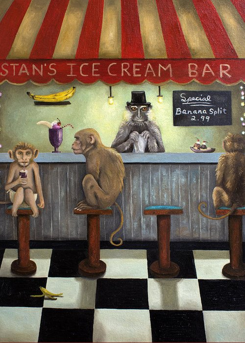 Bar Greeting Card featuring the painting Monkey Business by Leah Saulnier The Painting Maniac