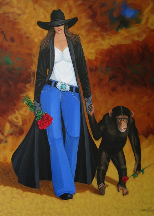Monkey Greeting Card featuring the painting Monkeys Best Friend by Lance Headlee